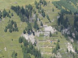 FIGURA 1 - Strutture di sostegno del manto nevoso nella zona di distacco di una valanga (reti - ponti - rastrelli da neve)